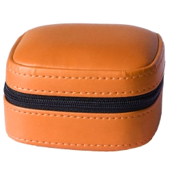 Kunstleder Schmucketui in orange mit schwarzem Samtüberzug innen