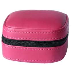 Kunstleder Schmucketui in pink mit schwarzem Samtüberzug innen