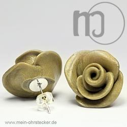 Ohrstecker Rose in oliv - Unikat - handgearbeitet