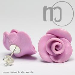 Ohrstecker Rose in pink - Unikat - handgearbeitet