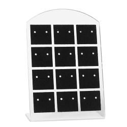 Kunststoff Schmuckdisplay für 12 Paar Ohrstecker 95x65mm in schwarz
