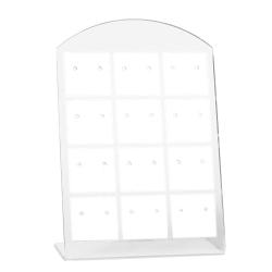Kunststoff Schmuckdisplay für 12 Paar Ohrstecker 95x65mm in weiß