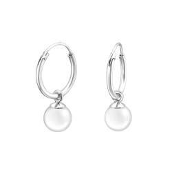 Creolen Ohrringe 925 Sterling Silber mit synthetischer Perle 6mm