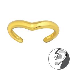 925 Sterling Silber Ear Cuff Ohrklemme vergoldet mit Welle