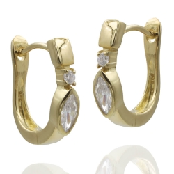 925 Sterling Silber Klappcreolen Ohrringe vergoldet mit Zirkonia