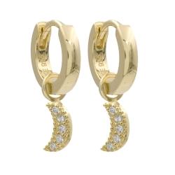 Klappcreolen 925 Sterling Silber Ohrringe vergoldet 10mm mit Zirkonia-Halbmond