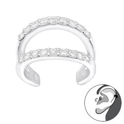 925 Sterling Silber Ear Cuff Ohrklemme mit Zirkonia-Steinen
