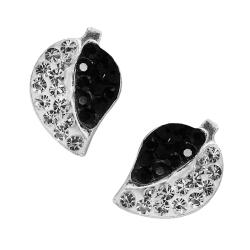 Silber Ohrstecker Glitzer Blätter in schwarz-weiß