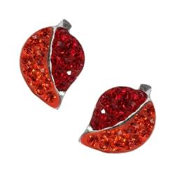 Silber Ohrstecker Glitzer Blätter in orange-rot