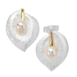 925 Sterling Silber Blatt teilvergoldet mit Süßwasser-Zuchtperle