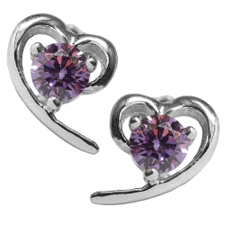 Silberohrstecker mit geschwungenem Herz 925er Sterling Silber in lila