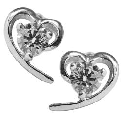 Silberohrstecker mit geschwungenem Herz 925er Sterling Silber in transparent
