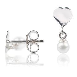 Ohrstecker 925 Sterling Silber mit Herz und Perlenanhänger