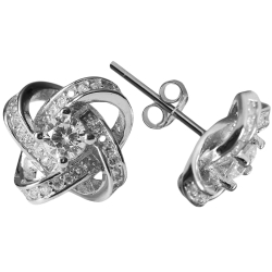 Silberohrstecker Knoten 925 Sterling Silber mit Zirkonia besetzt