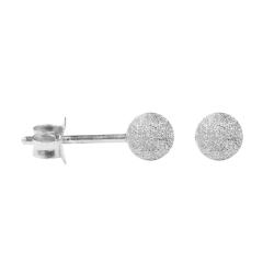 Silber Ohrstecker mit Kugel diamantgehämmert 4 mm