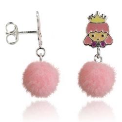 Kinderohrstecker 925 Sterling Silber mit Prinzessin und Puschel in pink