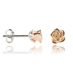 Ohrstecker 925 Sterling Silber mit Rose rosévergoldet