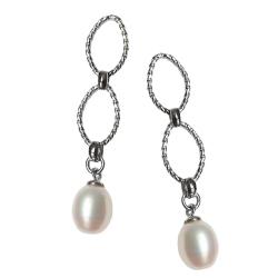 Silber Ohrstecker mit Perlen-Anhänger