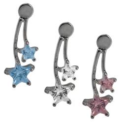 Ohrstecker Silber mit zwei Sternanhängern