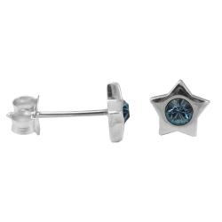Ohrstecker Stern mit farbigem Stein in blau