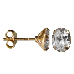 Silber Ohrstecker vergoldet mit ovalem Zirkonia