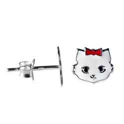 Ohrstecker weiße Katze 925 Sterling Silber