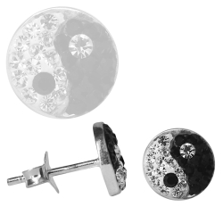 Silber Ohrstecker Ying Yang Glitzer Kristalle