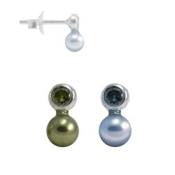Ohrstecker Silber mit Zirkonia oder synthetischen Aquamarin und Perle