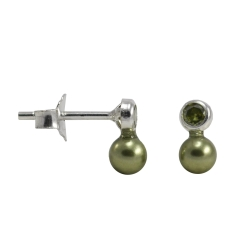 Ohrstecker Silber mit Zirkonia und Perle in olivgrün