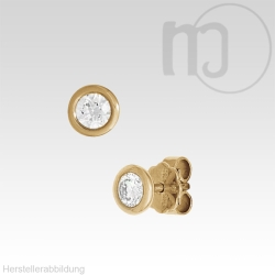585er Solitaire Gelbgoldohrstecker mit Diamant-Brillianten 0,1 - 0,2 Karat/ct