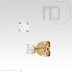 585er Gelbgoldohrstecker mit Diamant-Brillianten 0,1 - 0,2 Karat/ct Solitaire