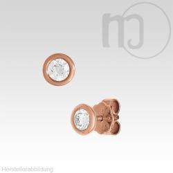 585er Solitaire Rotgoldohrstecker mit Diamant-Brillianten 0,1 - 0,2 Karat/ct