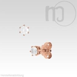 Solitaire 585er Rotgoldohrstecker mit Diamant-Brillianten 0,1 - 0,2 Karat/ct