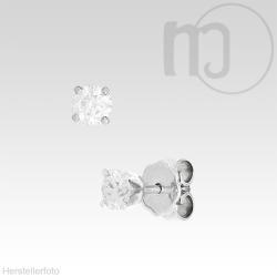 585er Weißgoldohrstecker mit Diamant-Brillianten 0,1 - 0,2 Karat/ct Solitaire