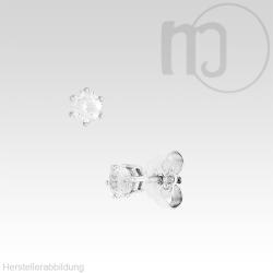 Solitaire 585er Weißgoldohrstecker mit Diamant-Brillianten 0,1 - 0,2 Karat/ct