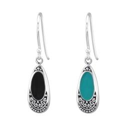 925 Sterling Silber Ohrhaken Ohrhänger Bali in schwarz oder grün