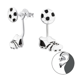 Ohrstecker 925 Sterling Silber Ear Jacket mit Fußball und Schuh