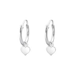 Creolen Ohrringe 925 Sterling Silber mit Herz 4mm