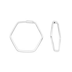 Creolen Ohrringe 925 Sterling Silber Hexagon 22mm