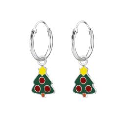 Creolen Ohrringe 925 Sterling Silber mit Weihnachtsbaum