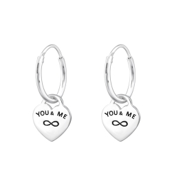 Creolen Ohrringe 925 Sterling Silber You & Me Infinity