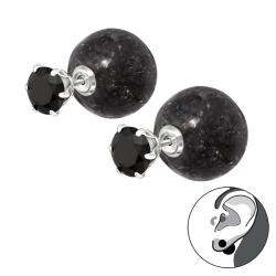 925 Sterling Silber Doppelperlen Ohrstecker Crackle Style mit Zirkonia
