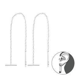 Durchzieher Ohrringe 925 Sterling Silber Ohrhänger mit Stab