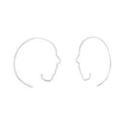 925 Sterling Silber Durchzieher Creolen mit Gesicht