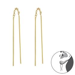 Durchzieher Ohrringe 925 Sterling Silber vergoldet Ohrhänger