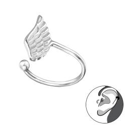 Ear Cuff 925 Sterling Silber mit Flügel Ohrklemme