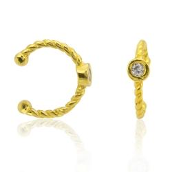 Ear Cuff 925 Sterling Silber gelbvergoldet Ohrklemme mit Zirkonia