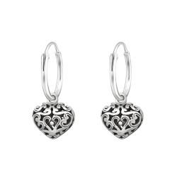 Creolen Ohrringe 925 Sterling Silber mit Herz