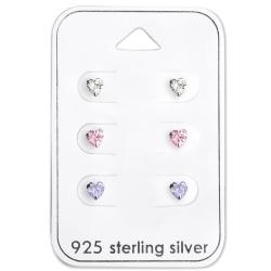 Ohrstecker Set 925 Sterling Silber Herzen mit Zirkonia
