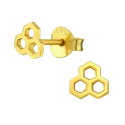 Ohrstecker 925 Sterling Silber vergoldet mit Honigwabe